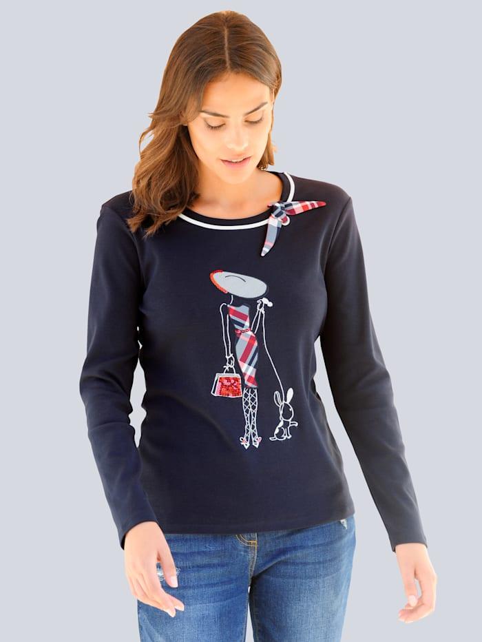 Alba Moda Shirt mit appliziertem Motiv, Marineblau