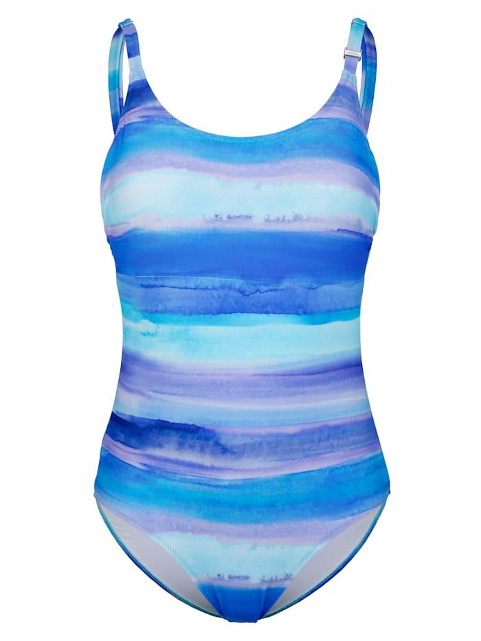 Rösch Badeanzug in Aquarelloptik, Blau