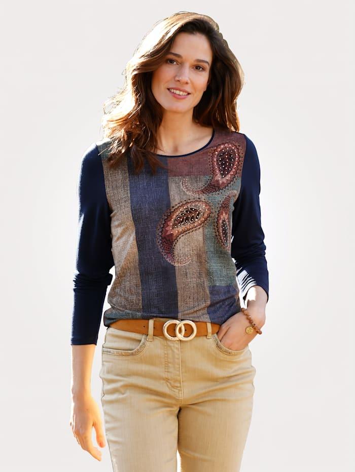 MONA T-shirt à imprimé mode, Marine/Beige/Vert sapin