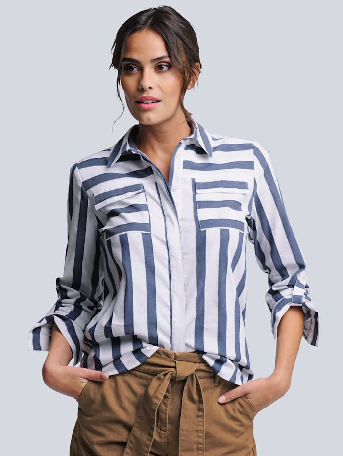 Alba Moda Bluse in schönem Streifendessin, Weiß/Blau
