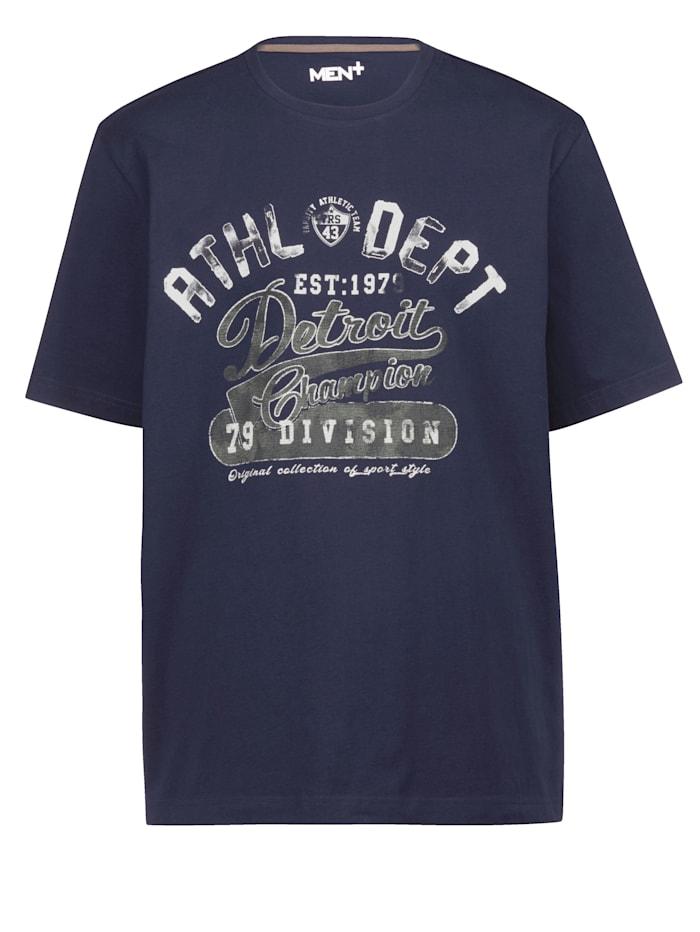 Men Plus T-Shirt aus reiner Baumwolle, Marineblau