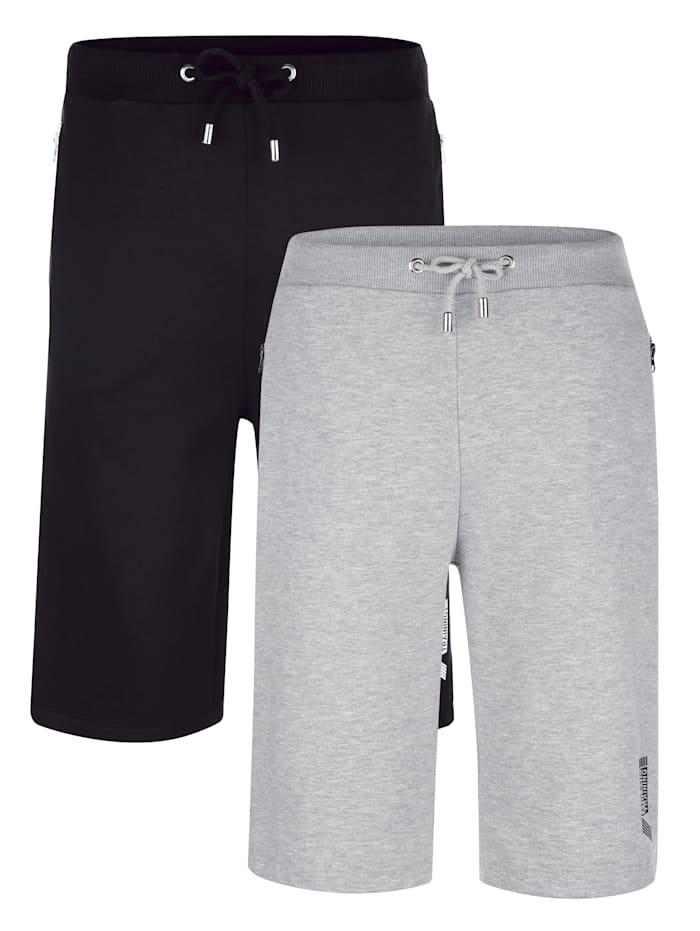 G Gregory Bermudas de loisirs par lot de 2 à poches zippées très pratiques, Gris
