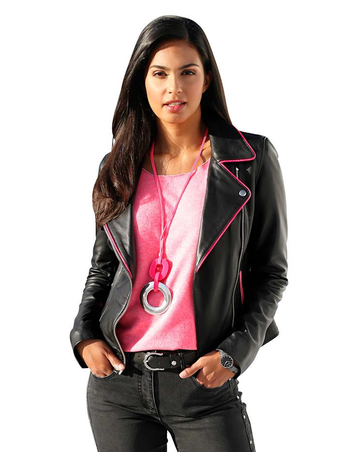 AMY VERMONT Leren jasje met pinkkleurige accenten, Zwart/Pink