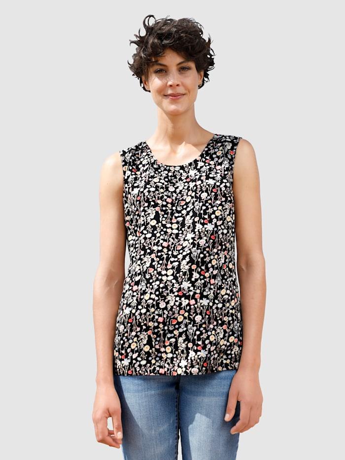 Dress In Top mit sommerlichem Print, Schwarz