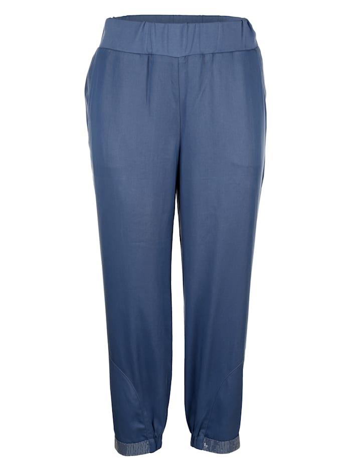 MIAMODA Dra-på-bukse med paljetter på benkanten, Jeansblå