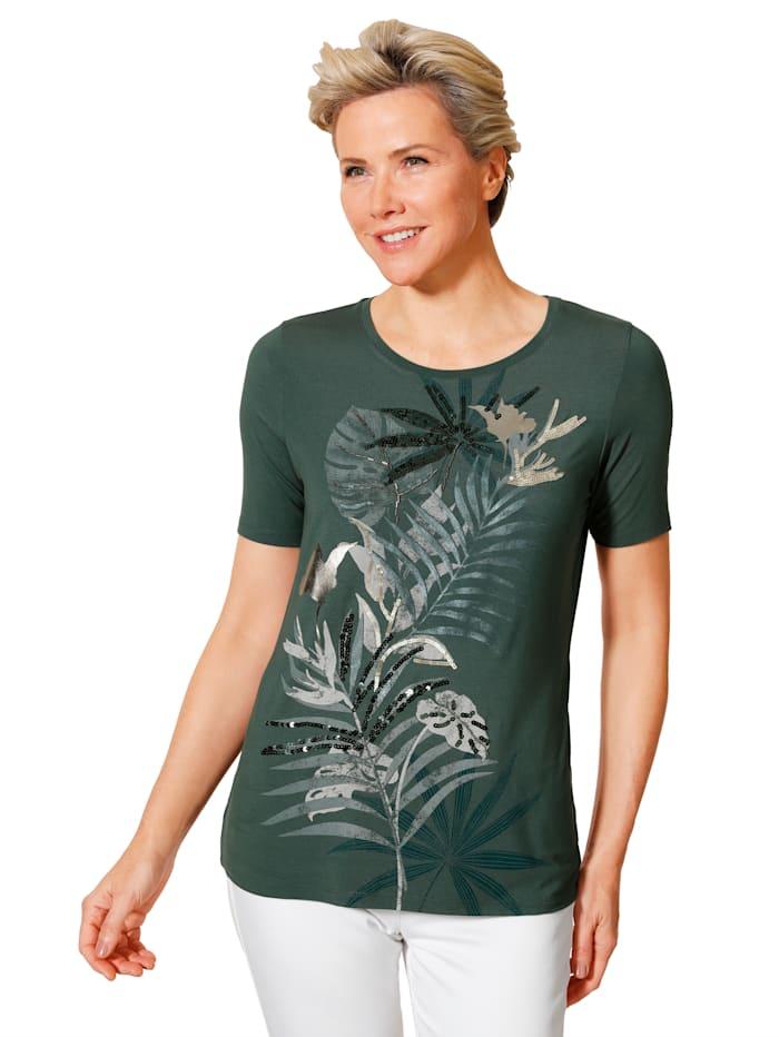 MONA Shirt mit dekorativen Perlen bestickt, Dunkelgrün