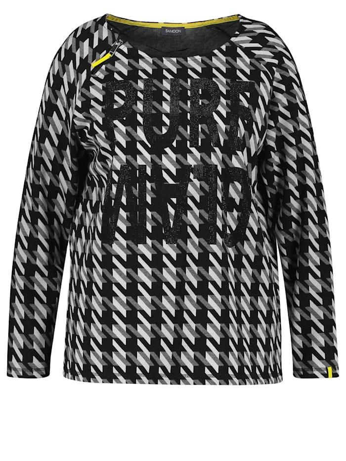Samoon Shirt mit Hahnentritt, Black gemustert