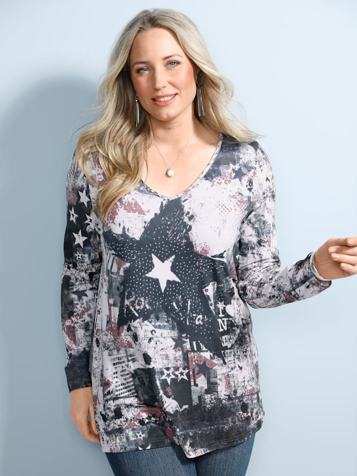 MIAMODA Shirt mit Dekosteinchen, Jeansblau/Grau/Rosé
