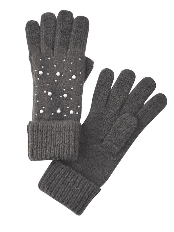 MONA Handschuhe mit Perlen-Deko, Grau