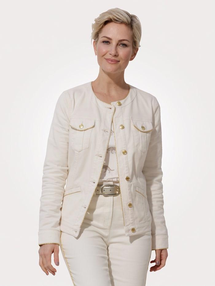 MONA Jeansjacke mit authentischen Teilungsnähten, Ecru/Goldfarben