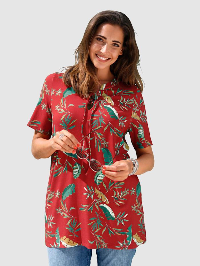 MIAMODA Shirt mit Allover-Dschungel-Print, Rot/Grün/Gelb