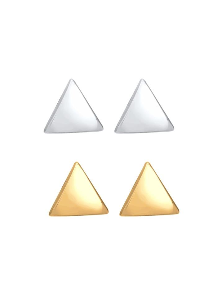Ohrringe 2Er Set Dreieck Geo Bicolor Minimal 925 Silber