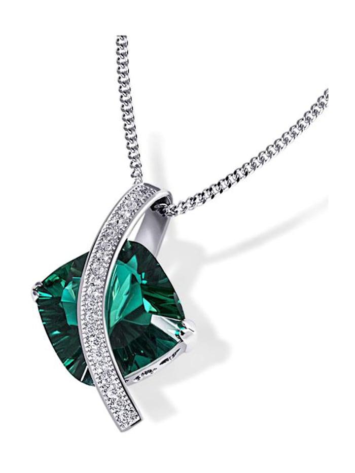 Goldmaid Collier Silber 925 Milleniumcut smaragdgrüner Zirkonia, silberfarben