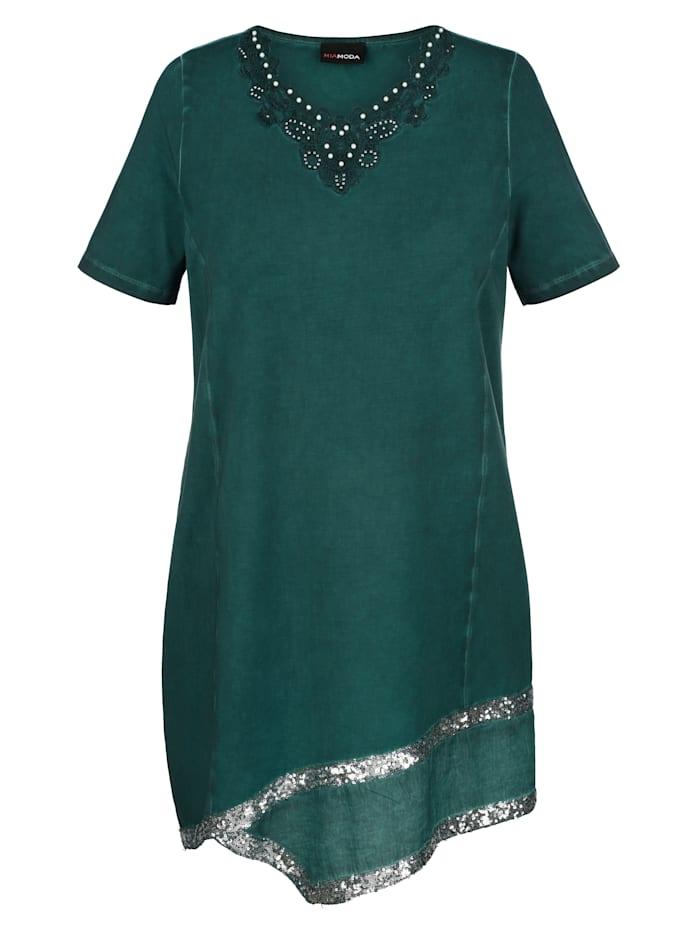 MIAMODA Dlouhé tričko s dekorativnítkanou vsadkou na lemu, Zelená