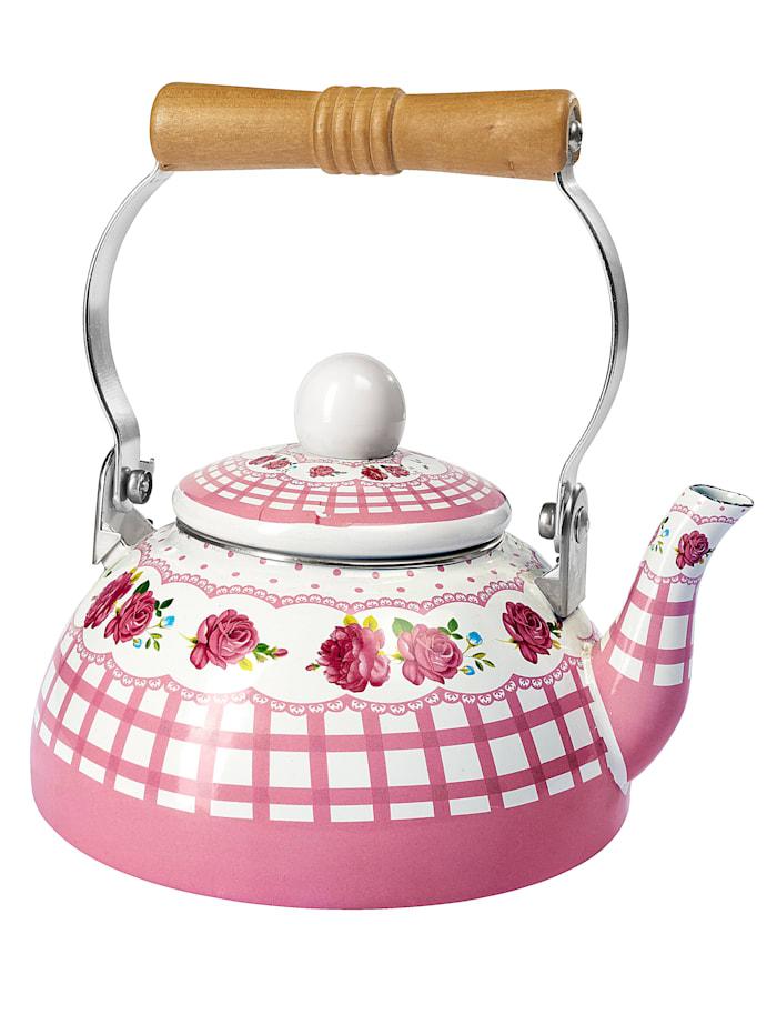 Emaille-Teekessel, rosa/weiß