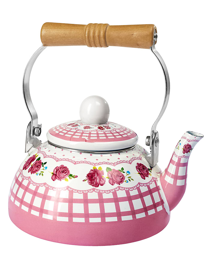 Emalinen teepannu, roosa/valkoinen