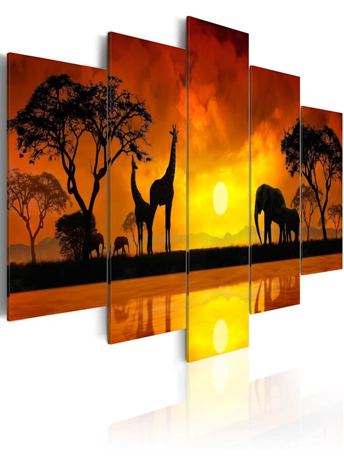 artgeist Wandbild Savanna, orange,yellow,black,red