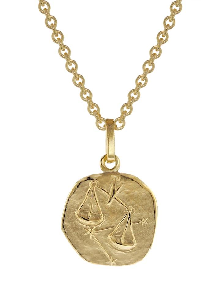 trendor Sternzeichen für Kinder Waage Gold 333 Anhänger + Halskette, Goldfarben