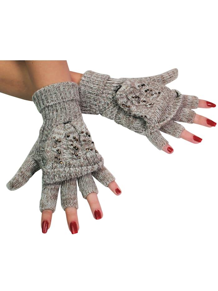 Handschuhe 2 Paar A3372 2 Paar Klapp-Handschuhe mit Glitzer-Steinen