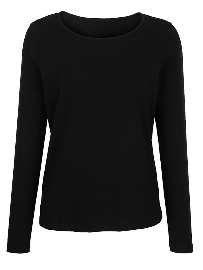 Dress In Shirt met hoog katoengehalte, Zwart