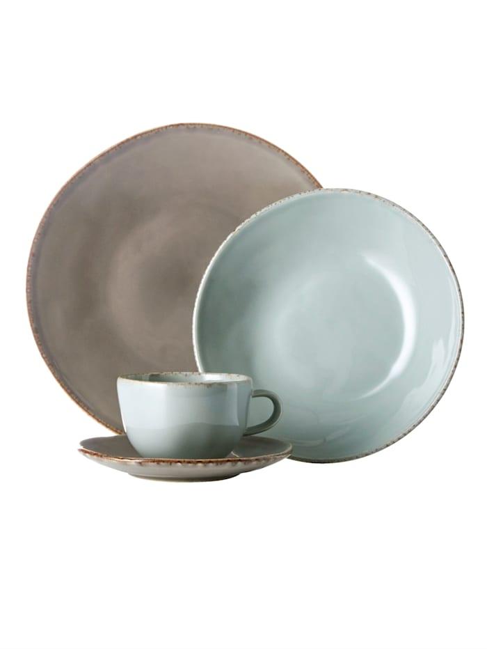 """Creatable Service de table grès """"Organic Oslo"""", caillou/bleu"""