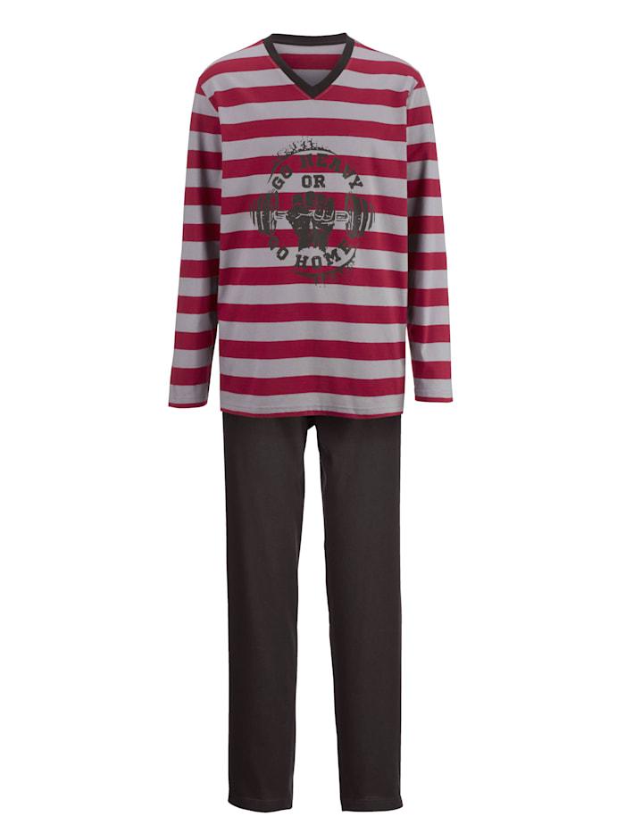 Pyjama avec T-shirt tissé-teint
