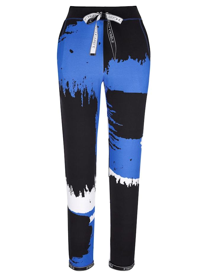 Harmony Freizeithose in einzigartigem Dessin, Royalblau/Schwarz/Weiß