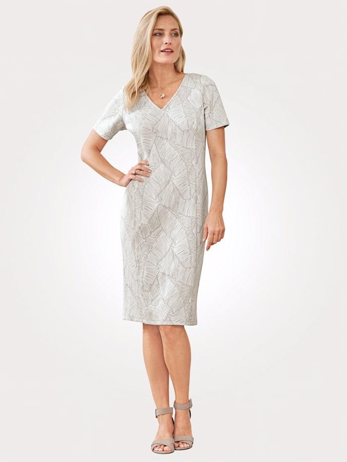MONA Kleid mit Glanzgarn, Ecru/Goldfarben