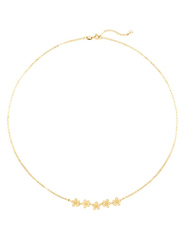 Blüten-Collier in Gelbgold 375, Gelb