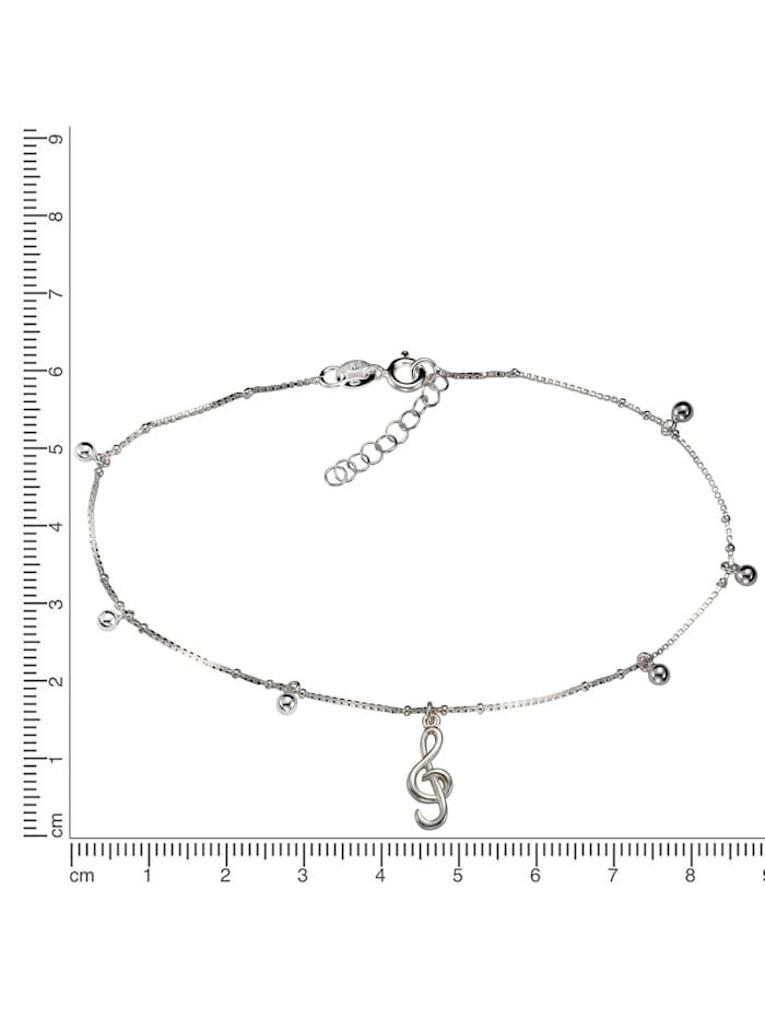 Fußkette 925/- Sterling Silber weiß 23+2cm Glänzend