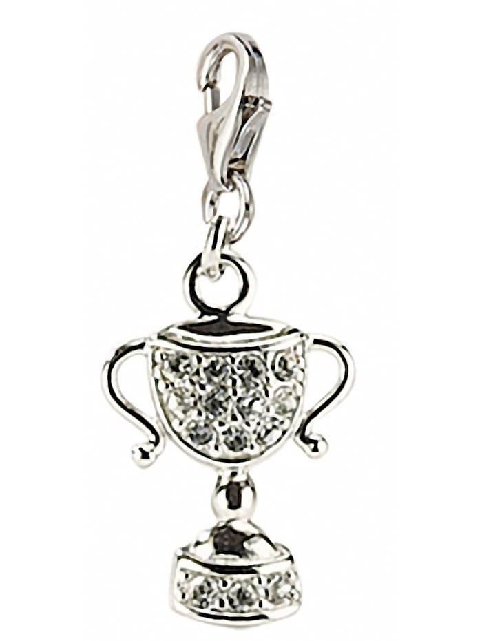 1001 Diamonds Damen Silberschmuck 925 Silber Charms Anhänger Pokal mit Zirkonia, silber