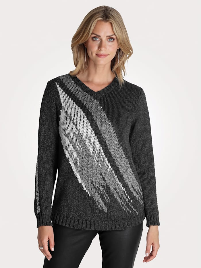 MONA Pullover mit Jacquardstrick, Anthrazit/Grau