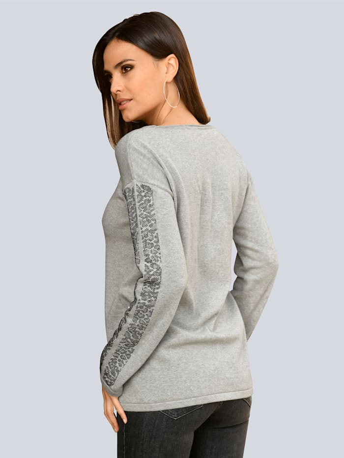 Pullover Mit Strasssteinchen entlang des Ärmels