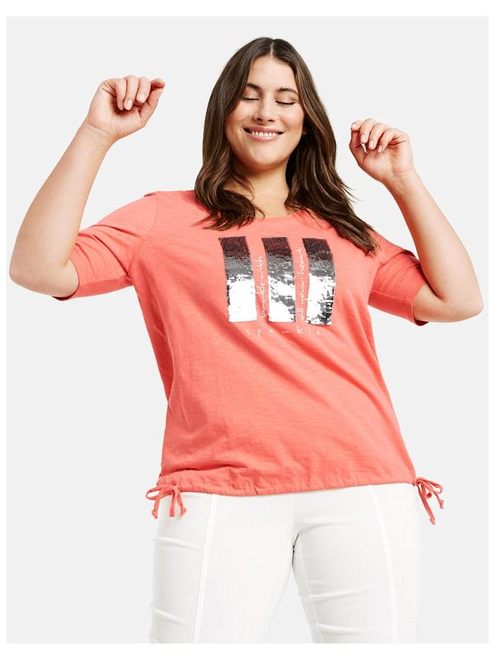 Samoon Shirt mit Pailletten aus GOTS zertifizierter Bio-Baumwolle, Fusion Coral gemustert