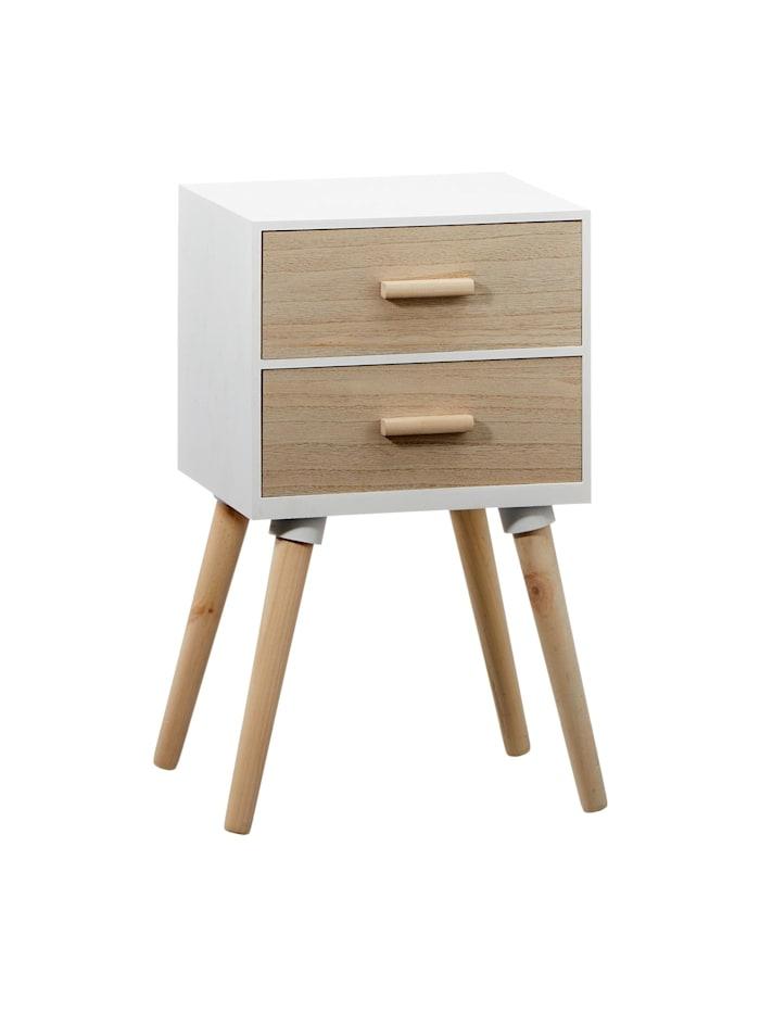 HTI-Living Beistelltisch mit 2 Schubladen, Weiß, Natur