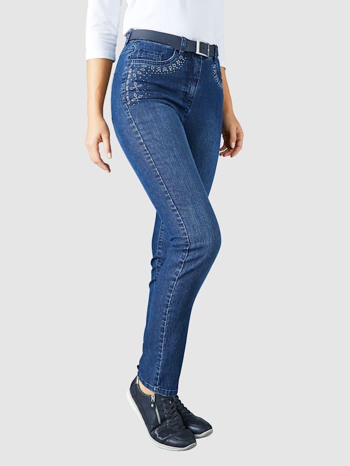 Paola Jeans med strass, Blå