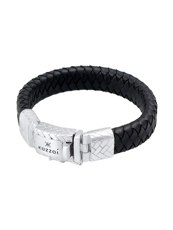 Armband Herren Leder Geflochten Schlichte Optik 925 Silber