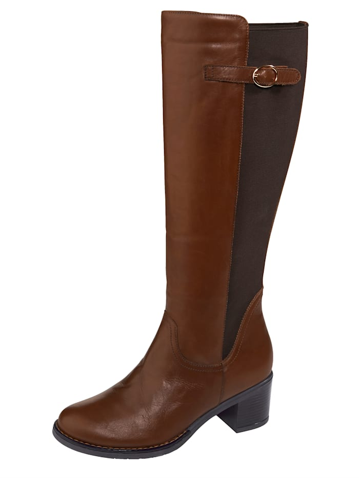 Liva Loop Stiefel mit großzügigem Elasteinsatz im Schaftbereich, Cognac