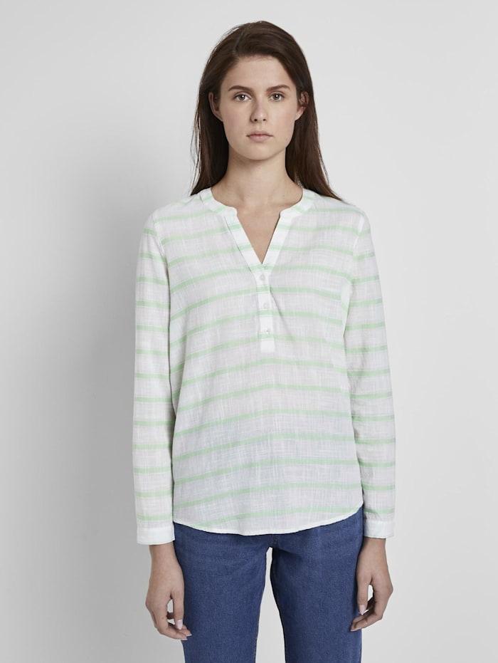 Tom Tailor Denim gestreifte Henley-Bluse, white green stripe