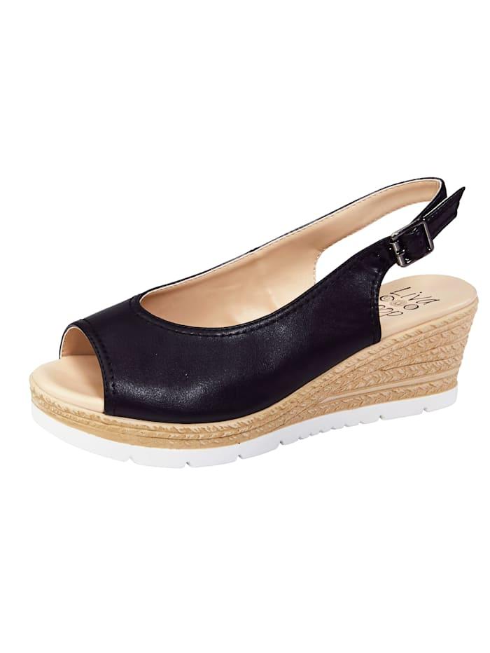 Liva Loop Sandaaltje met elastische onder de gesp, Zwart