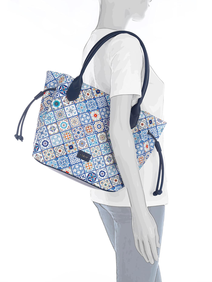 Gabor Shopper met mooie print, blauw/multicolor