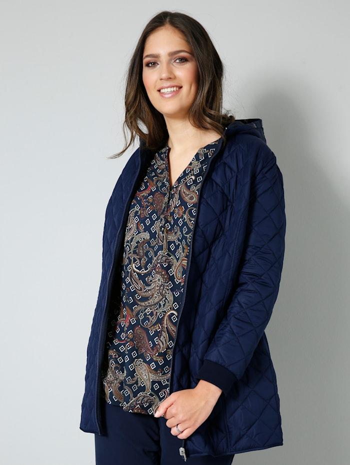 Janet & Joyce Tunika-Bluse mit modernem Paisleydruck, Marineblau/Aubergine