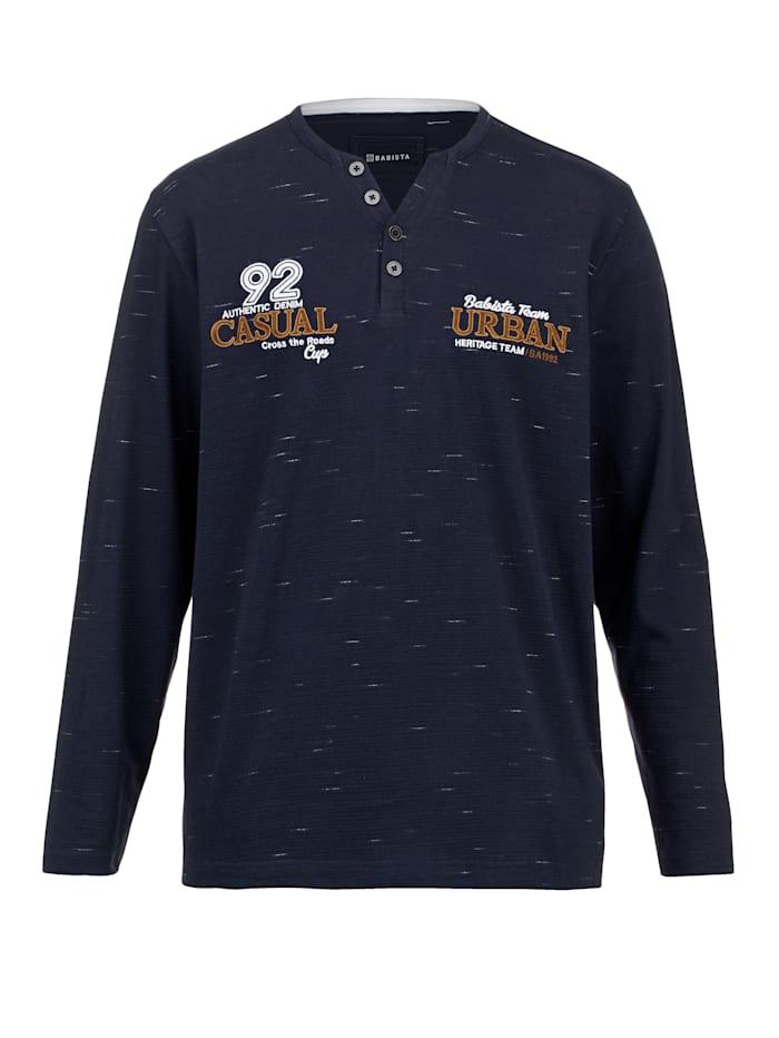 BABISTA T-shirt met fijne structuur, Donkerblauw