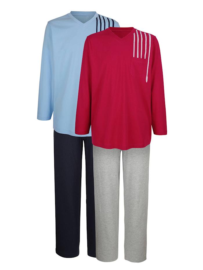 Pyjama, Robijnrood/Lichtblauw