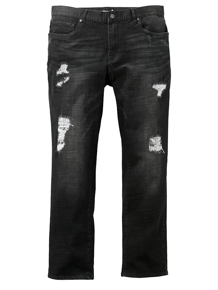 Men Plus Destroyed Jeans Slim Fit, Black stone