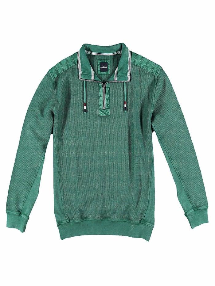 Engbers Sweatshirt mit Kontrastbesätzen., Tannengrün