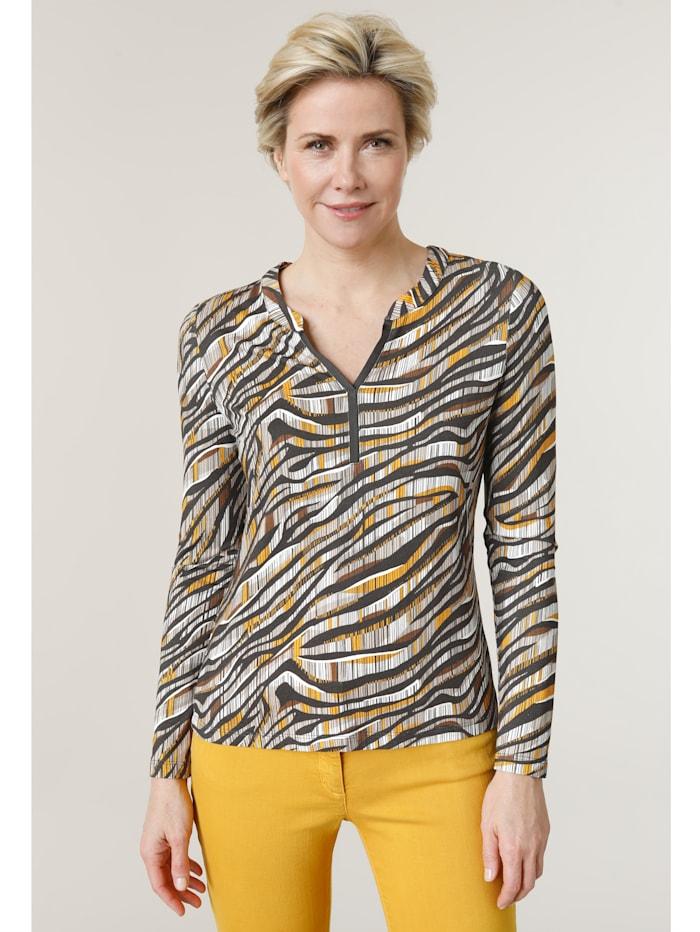 Barbara Lebek Shirt met print rondom, Geel/Grijs