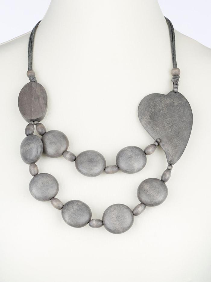 Halskette aus grauen Holzelementen mit Herz, Grau