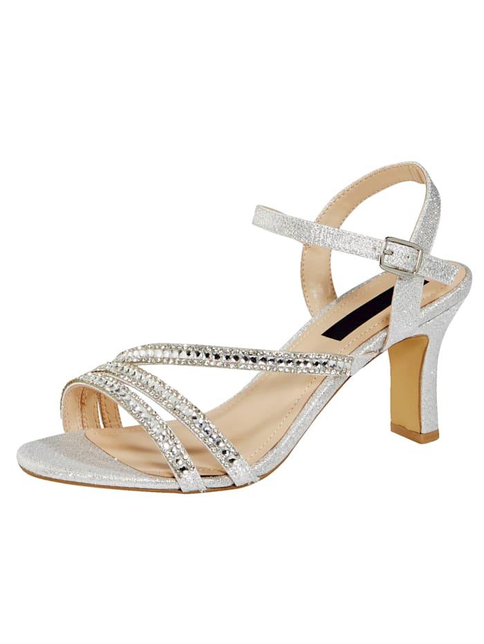 Liva Loop Sandalette mit eleganter Steinchenzier, Silberfarben
