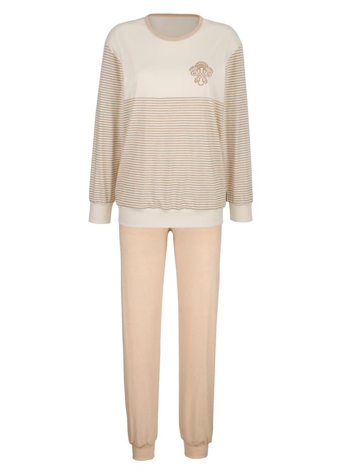 Götting Pyjama en coton naturellement teinté, Beige/Marron clair/Vert foncé